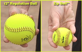 Zip Ball size compared to regulation softball